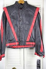 NWT Metal Chess King Sz 42 Black Red Leather Jacket Punk Rock Thriller