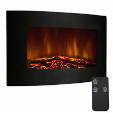 "35"" Adjustable Electric Wall Mount Fireplace Heater Remote home Log Flame Fire"