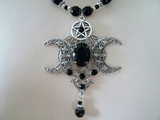 Phases Of The Moon Pentacle Necklace, wiccan pagan wicca witch witchcraft magic