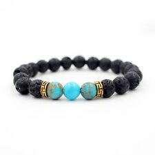 Men Women Lava Rock Stone Bead Blue Beads Bangle Bracelet Health Elastic Gift