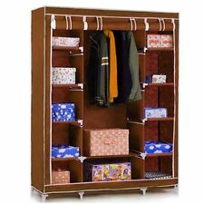 Triple Wardrobe Clothes Shelves Organiser Hanging Rail Cupboard Big Canvas Brown