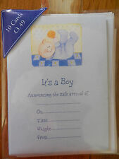 PACK OF10 BLUE NEW BABY ITS A BOY BIRTH ANNOUNCEMENT CARDS AND ENVELOPES