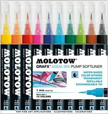 MOLOTOW GRAFX AQUA INK SOFTLINER - 10 PIECE BRUSH MARKER PEN SET - BASIC SET 1