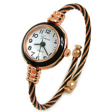 New Geneva Cable Band Rose Gold Accent Women's Small Size Bangle Watch