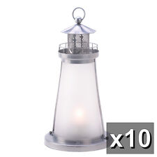 10 White Frosted Lighthouse Lantern Candleholder Wedding Centerpieces