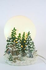 Nightlight Mountain Scene Cabin in the Woods by a Stream and Wolf