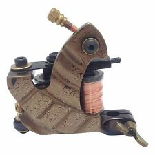 D7 Damascus Tattoo Machine Steel Handmade Liner & Shader Gun 10 Wrap Coil + Case