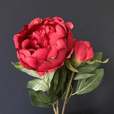 Realistic Red Faux Peonies -  Artificial Peony Flower & Bud. Luxury Silk Flowers