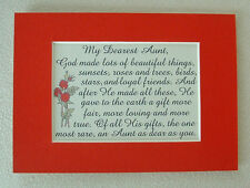 AUNT Family GOD MADE Loving BEAUTIFUL Rare Gift Dear Friends verses poem plaques