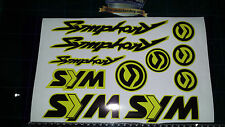 Sym Symphony Stickers / Decals YELLOW &  Black 11 piece printed vinyl, 50, 125,