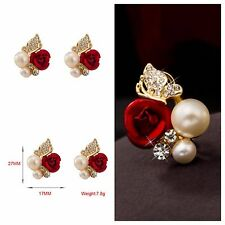 New Fashion Rose Flower Imitation Pearl Yellow Gold Plated Crystal Stud Earring