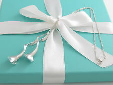 """Tiffany & Co Frank Gehry Sterling Silver Double Orchid Necklace 16"""""""