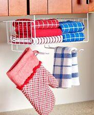 Space Saving Under Shelf Basket W/Hooks Kitchen Towel Holder Organizer Rack