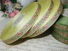 "1y VTG 1/2"" FRENCH YELLOW ROSES FLOWER JACQUARD DOLL DRESS FASHION HAT BEAR"