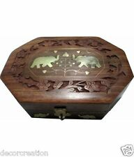 Wooden Handcrafted Elephant Design Box for Jewellery Crystal Homedecor Gift Item
