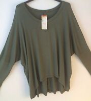 Made In Italy Lagenlook Khaki Oversized Baggy Off The Shoulder Top 10 12 14 16