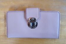 Marc Jacobs Women's Pink Leather Bifold Long Wallet Metal Tuck Clasp NWD