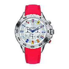 NEW Nautica Men's Signal Flags Mens Chronograph Red Leather Watch A24515G $245