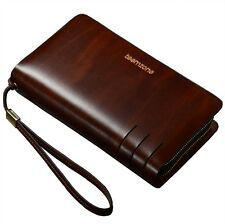 Mens Clutch Bags Handbag Checkbook Organizer Wallet Card Cash Holder Briefcases
