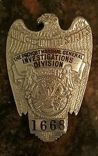 U.S. PROVOST MARSHAL GENERAL INVESTIGATORS BADGE WWII