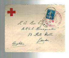 WW 1 France Censored Cover to England Red cross Society