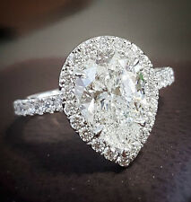 Stunning 1.50 Ct. Pear Cut Diamond Engagement Ring Set E, VS2 GIA U-Pave