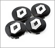 Set of 4 Black Renault New Style Alloy Wheel Badges Centre Caps 60mm  UK Seller