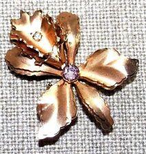 VINTAGE ROSE GOLD COLOR AMETHYST COLOR CRYSTAL FLOWER PIN BROOCH