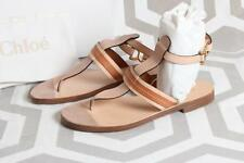 NIB Chloe T-Strap Thong Sandals 37 Leather Shoes