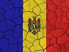 PRINT PAINT ABSTRACT FLAG CRACKED CONCRETE MOLDOVA MOLDOVAN EAGLE CREST LFMP0194
