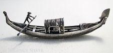 Antique c1900 Venetian Italian 800 SOLID SILVER FILIGREE Miniature Gondola Boat