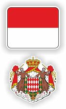 MONACO flag + coat of arms 2x stickers decals drapeau