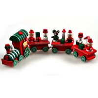 New Charming 4 Piece Wood Christmas Wooden Train Xmas Ornament Decor Gift GREEN