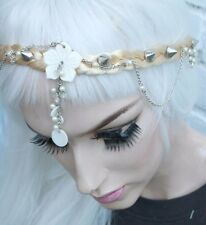 BEADED MOTHER OF PEARL  CROWN FOREHEAD BAND BLONDE PLAIT BRIDAL FAIRY GODDESS