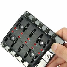 10 Way Fuse Holder Box With LED Indicators warning Blade Fuse 12V Boat Car Van