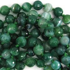 """10mm faceted green stripe agate round beads 8"""" strand"""