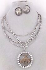 Layered Silver Chain Cowboy Pendant Necklace Set Rhinestone Fashion Jewelry NEW