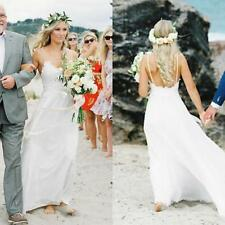Latest Spaghetti Straps Beach Wedding Dress White Ivory Bridal Gown Custom 6 8++