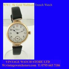 Mint WW1 9k Gold Waltham Officers Trench Deco Watch 1918