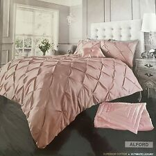 NEW Alford Pin Tuck Diamond Bedding Duvet Cover Pillowcases All Sizes