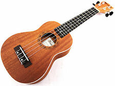 "Nice Sound 21"" Mahogany with Ivory Inlaid Wooden Soprano Ukulele & Bag Limited"