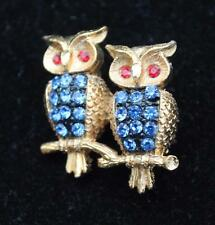 New Signed JJ Goldtone Blue Rhinestones DOUBLE OWL Pin Brooch