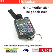 Digital Hanging Fishing Scale Calculator,Thermometer,Fishhook Tools 6in1 50kg