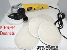 "7"" Electric Car Polisher-Buffer 6-Speed Synthetic Velcro Attachment Bonnet Pads"