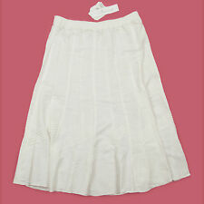 BNWT WHITE MID LENGTH UNLINED COTTON BLEND STRETCHY WAIST SKIRT SIZE 14
