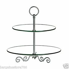 2 Tier Cake Stand Clear Glass Chrome Vintage Wedding Party Cupcake Display Plate