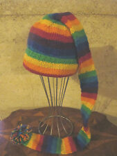Wool knit long tail pompom funky beanie hat Nepal made  Gypsy Hippy Festival