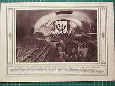 1915 WWI WW1 PRINT ~ WINE VAULT AS CHAPEL BOMBARDED RHEIMS ~ CHRISTMAS ALTAR