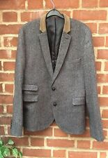 "BURTON DARK GREY TWEED STYLE WOOL BLEND BLAZER/HACKING JACKET - M (CHEST 38-42"")"