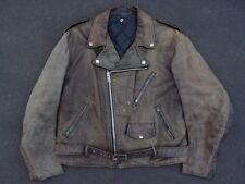 Vintage Schott Perfecto Distressed Motorcycle Leather Jacket Size L Moto Grease
